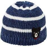 DOUBLE_B     DB黑熊 條紋針織毛線保暖帽(藏藍)