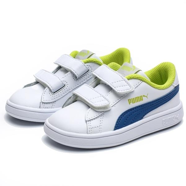 PUMA SMASH V2 白藍 螢光綠 黏帶 休閒鞋 小童 (布魯克林) 36517414