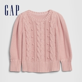 Gap女幼童 時尚絞花織紋圓領針織衫 609701-粉色