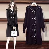 VK精品服飾 韓國學院風波浪邊雙排釦長袖洋裝