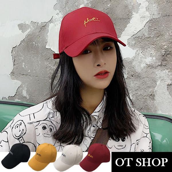 [現貨] 彎檐硬挺棒球帽  英文草寫老帽 銅釦版棒球帽 鴨舌帽 文青 簡約韓風 基本帽型 素色 C2068