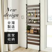 時尚木紋收納掛架(附層板*2掛勾*4) 胡桃色+黑鐵管