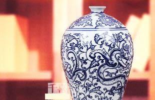 景德鎮陶瓷器青花瓷心纏枝蓮美人瓶