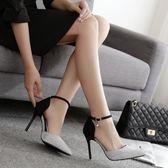 新款春秋一字扣高跟鞋細跟尖頭小清新10cm單鞋5cm中跟少女鞋 沸點奇跡