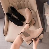 馬丁靴馬丁靴女年春秋季新款英倫風粗跟單靴百搭高跟鞋切爾西短靴子 JUST M