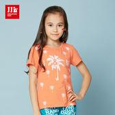JJLKIDS 女童 百搭休閒椰子樹彩繪短袖上衣 T恤(橙色)
