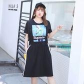 ★韓美姬★中大尺碼~個性女孩俏皮印花短袖連衣裙(XL~4XL)