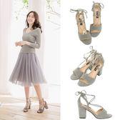 Ann'S造型重點-一字帶綁帶魚口粗跟涼鞋-灰