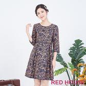RED HOUSE-蕾赫斯-花紋洋裝(卡其色)