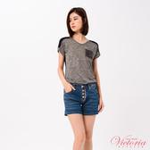 Victoria 異材質拼接落肩短袖T-女-Y85094