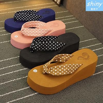 【X019】shiny藍格子-俏麗可愛.圓點毛巾布松糕厚跟夾腳拖鞋