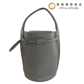 【雪曼國際精品】Celine 肩背/手提包大象灰色荔枝紋牛皮手提二用包~二手商品9.3成新