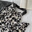 黑牛奶自制款洋裝女2021夏新款韓版設計感豹紋印花修身洋裝子 幸福第一站