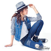 Victoria 假二件條紋雪紡寬鬆短袖T-女-白底藍條