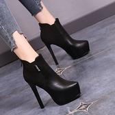 裸靴 33碼馬丁靴女 秋冬新款百搭細跟顯瘦小腳防水台高跟鞋短靴 店慶降價
