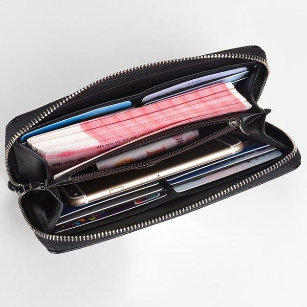新款德利袋鼠皮夾錢包男長款拉鍊休閒個性青年手拿包軟皮學生手包