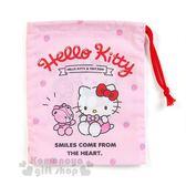〔小禮堂〕Hello Kitty 日製牙刷杯束口袋《粉.草莓.小熊》縮口袋.16x20cm 4901610-61791