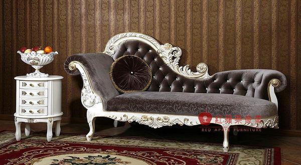 [紅蘋果傢俱] F112G 宮廷凡爾賽系列 頂級進口 歐式 皇室 貴妃椅 法式躺椅 新古典 沙發椅