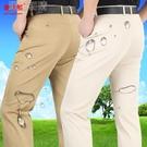 男士長褲100%高品質棉夏季薄款中老年男...