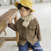 大尺碼童裝 男童加絨襯衫長袖外套冬兒童條紋加厚襯衣韓版男寶寶潮衣 js17185『Pink領袖衣社』