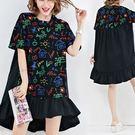 棉質彩色塗鴉印花荷葉洋裝-大尺碼 獨具衣格