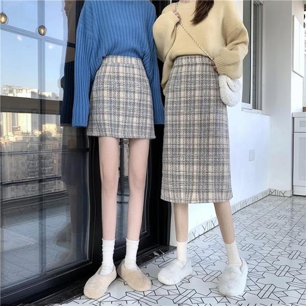 毛呢裙 冬季毛呢小個子半身裙女冬2021年秋冬裙子新款格子裙中長款包臀裙 歐歐