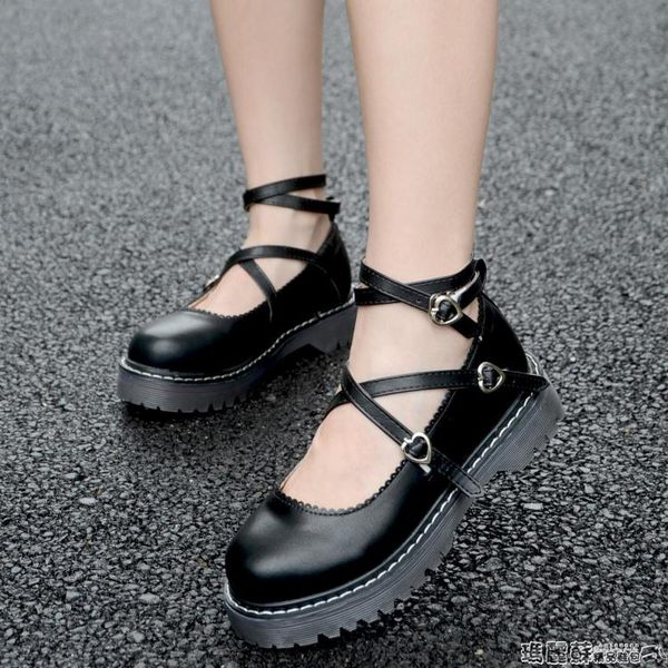 娃娃鞋 英倫學院小皮鞋女厚底軟妹洛麗塔系帶圓頭單鞋娃娃鞋原宿淺口女鞋  瑪麗蘇