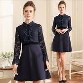 中大尺碼洋裝 簡約大方蕾絲拼接氣質修身顯瘦A字連衣裙  L-5XL #bl3901611 ❤卡樂❤