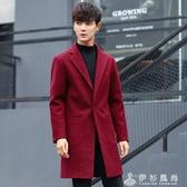 風衣男中長款修身韓版秋季新款毛呢大衣男士春秋潮流呢子外套 伊衫風尚