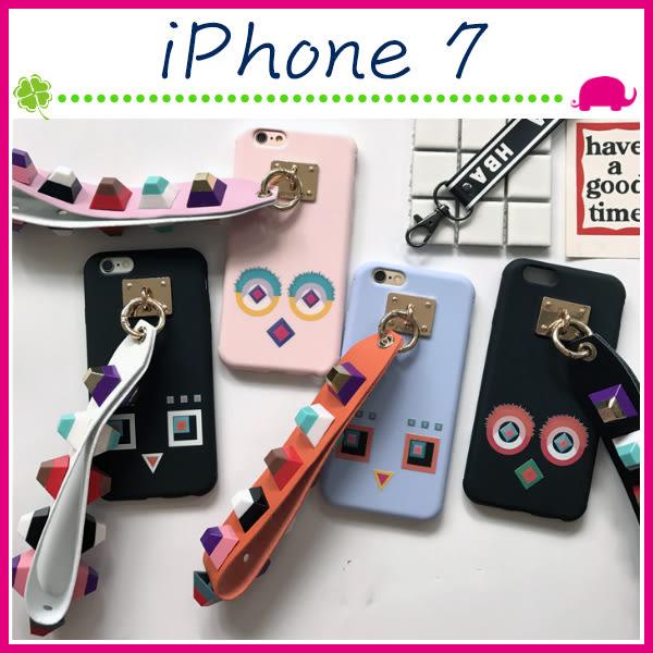 Apple iPhone7 4.7吋 Plus 5.5吋 怪物眼睛背蓋 彩色鉚釘手機殼 立體手繩保護套 個性手機套 吊飾保護殼