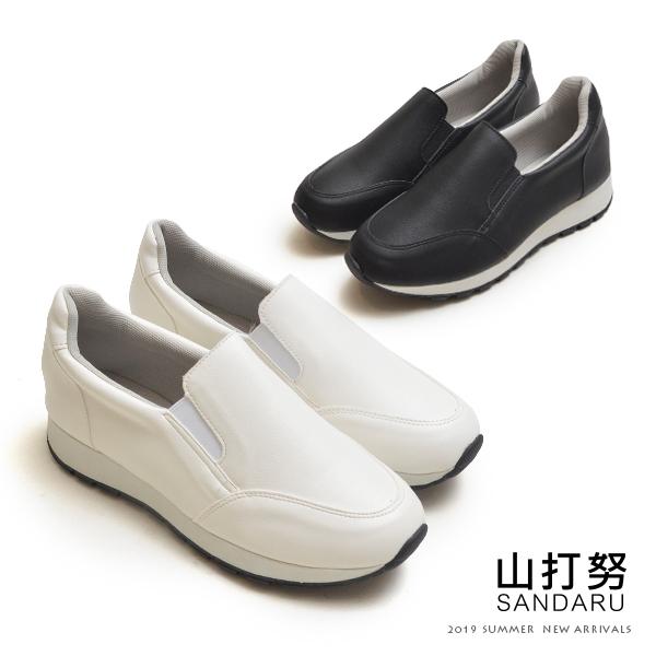 休閒鞋 側鬆緊素面皮革厚底鞋-山打努SANDARU【2463716#46】