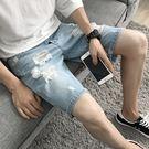 男士牛仔短褲五分褲破洞潮流個性韓版修身GZX-28