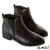 amai側V拼接萊卡尖頭平底短靴 黑