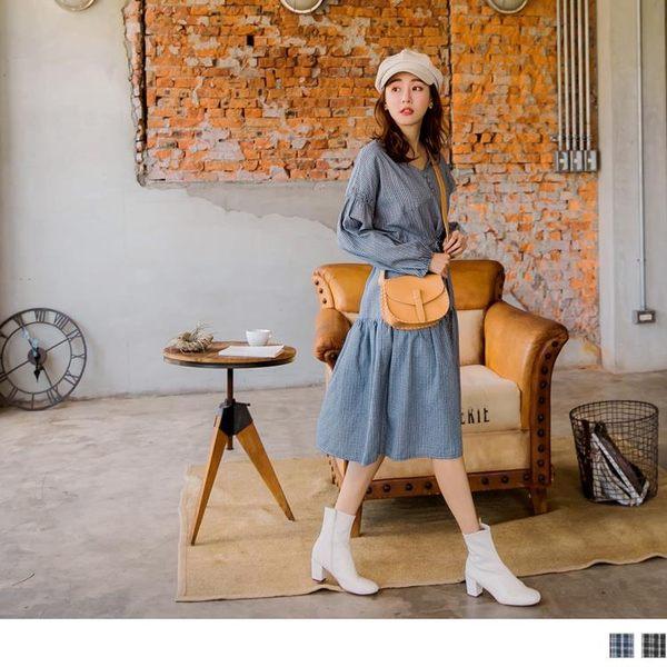 《DA7045》文青風格子腰抽繩綁帶拋袖寬鬆洋裝 OrangeBear