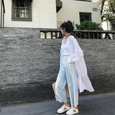 白色棉麻襯衫女長袖寬鬆正韓時尚亞麻防曬衣中長款開衫超薄外套  『米菲良品』