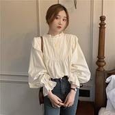 2020新款秋季甜美日系立領寬鬆喇叭袖氣質杏色襯衫女心機露背上衣 「99購物節」