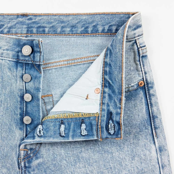 Levis 男款 501經典排釦牛仔短褲 / 褲管不收邊 / 重磅 / 無彈性