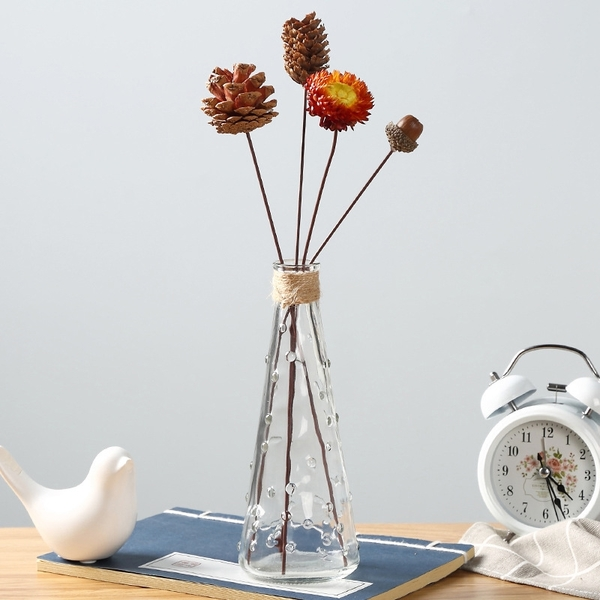【BlueCat】小雨點錐形透明玻璃瓶 花瓶 落地花瓶 花器 花盆 水培容器 插花 乾花 空瓶