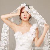 韓式蕾絲花瓣頭紗新款新娘婚紗禮服配件3米超長拖尾軟頭紗  居家物語