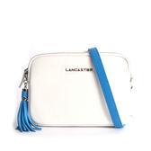 【LANCASTER】小牛皮方形斜背包(藍流蘇)(白色) 573-42 bleu