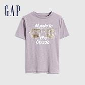 Gap男童 純棉印花短袖T恤 689877-淡紫色