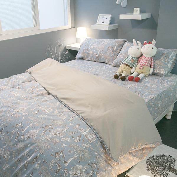 鹿先生的奇幻小屋  K3 kingsize床包+涼被四件組 四季磨毛布 北歐風 台灣製造 棉床本舖