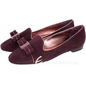 Salvatore Ferragamo SCOTTYPIPI 鑲邊蝴蝶結飾麂皮樂褔鞋(紫紅色) 1530426-83