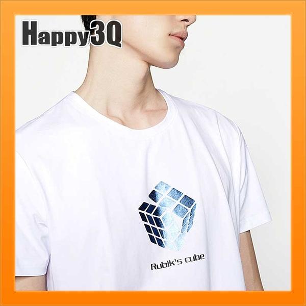 短袖上衣T恤潮TT恤魔術方塊圓領短袖白衣白T-SHIT棉質趣味T-白/藏青S-4L【AAA2023】預購