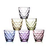 玻璃杯6只裝雨點杯彩色創意杯子炫彩杯禮品杯家用水杯 快意購物網