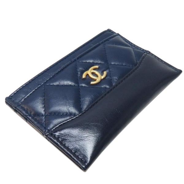 CHANEL 香奈兒 GABRIELLE系列藍色菱格紋牛皮卡夾 Card Holder【二手名牌BRAND OFF】