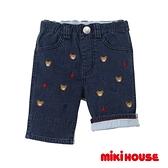 MIKI HOUSE 普奇熊刺繡款7分褲(靛藍)