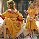 睡裙 全棉睡裙女夏純棉長款過膝公主風性感一字肩夏季大碼孕婦睡衣胖mm 愛麗絲