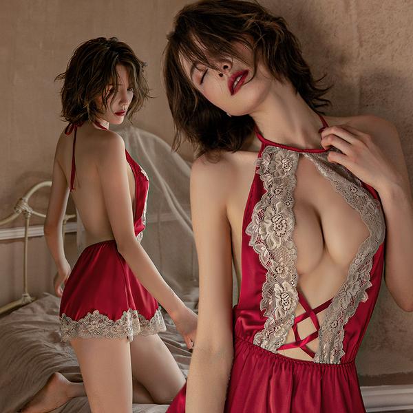 睡衣-煽情禁愛 性感深V蕾絲交叉緞面不勾紗誘惑綁帶美背大尺碼丁字褲 玩美維納斯 平價內睡衣