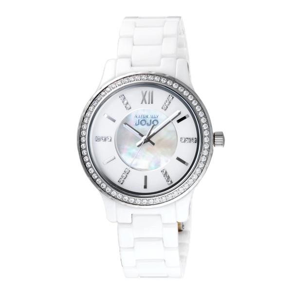 NATURALLY JOJO晶緻美好貝殼面陶瓷腕錶-白